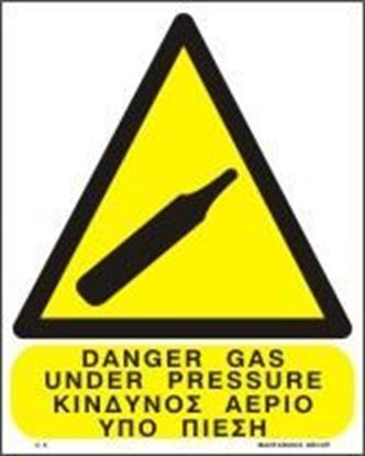 Picture of DANGER GAS UNDER PRESSURE SIGN      25x20