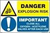Εικόνα από DANGER EXPLOS. RISK-CLOSE OX YGEN/ACETYLENE  20x30