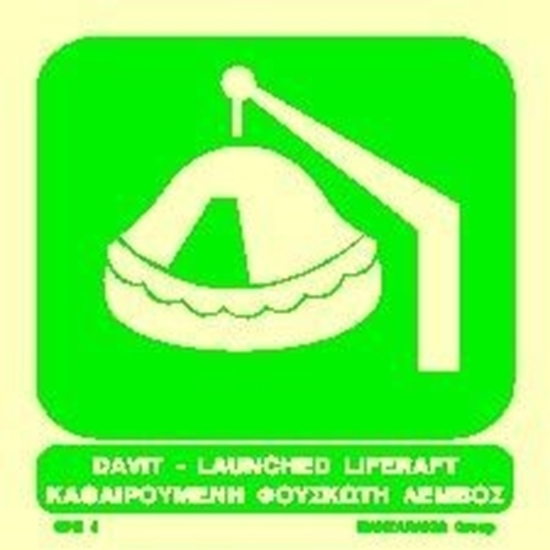 Снимка на DAVIT-LAUNCHED LIFERAFT SIGN 15X15