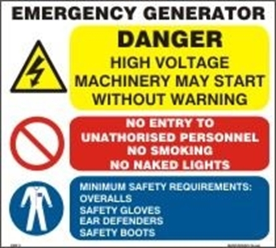Picture of EMERGENCY GENERATOR SIGN     30x28