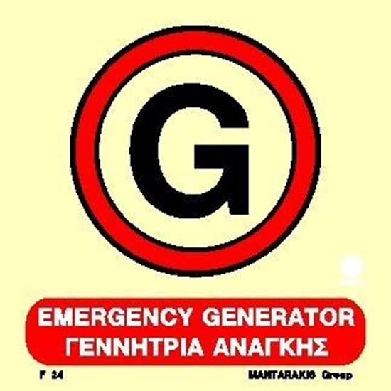 Picture of EMERGENCY GENERATOR SIGN   15x15