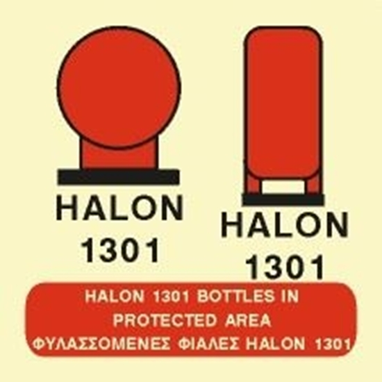 Снимка на HALON 1301 BOTTLES IN PROTECTED AREA SIGN    15x15