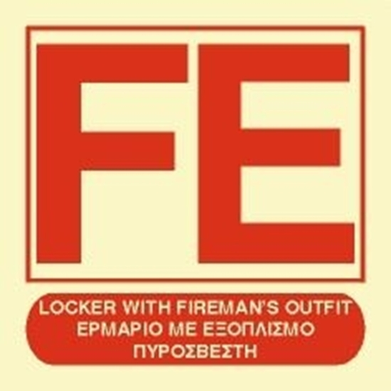 Picture of LOCKER WITH FIREMAN'S OUTFIT SIGN   15x15