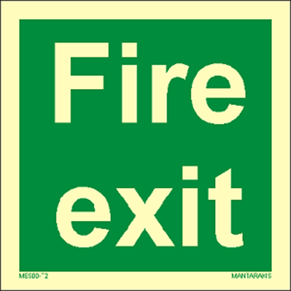 Picture of Text Fire Exit 15 x 15