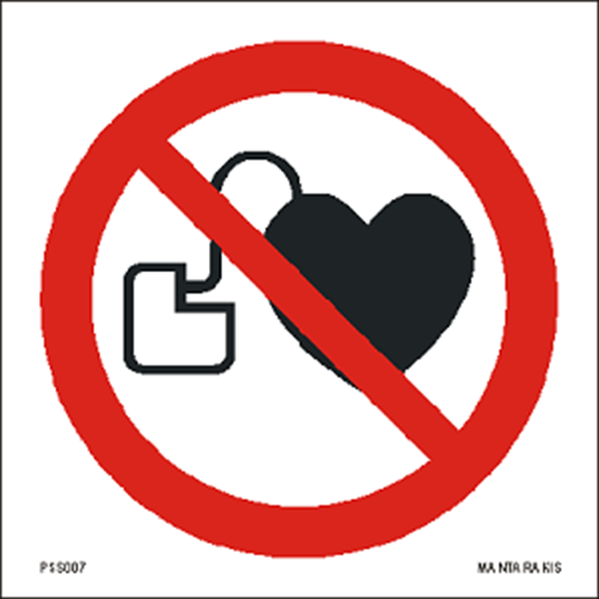 Picture of No access for people with active implanted cardiac devices 15 x 15