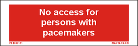 Снимка на Text no access for persons with pacemakers 5 x 15